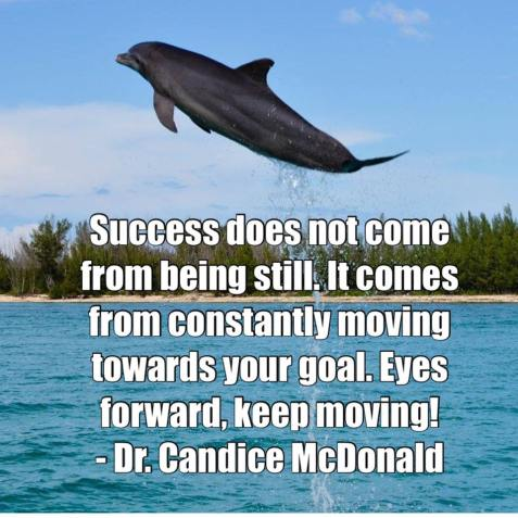 Quote: Success does not come from being still, it comes from constantly moving towards your goals. Eyes forward, keep moving! - Dr. Candice McDonald